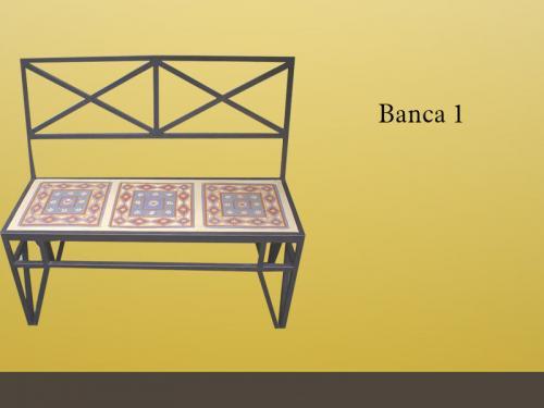 Bancas De Herreria Y Mosaicos De Terracota Modelo 1 En Guadalajara